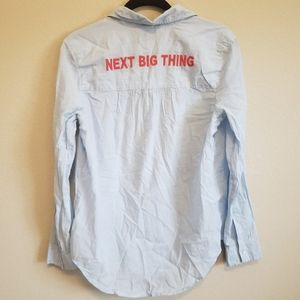 """Aerie Embroidered """"NEXT BIG THING"""" Chambray Top"""